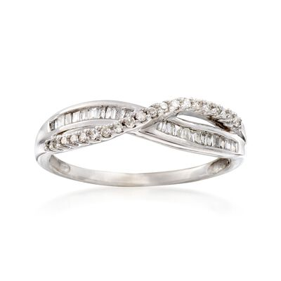 C. 1970 Vintage .36 ct. t.w. Diamond Crisscross Ring in 14kt White Gold, , default