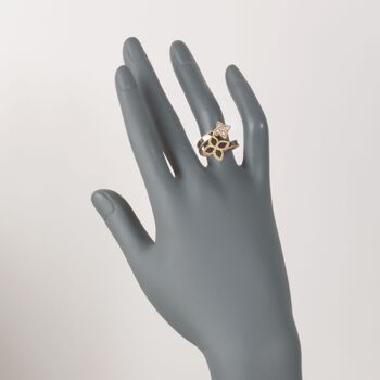 """Roberto Coin """"Princess"""" .17 ct. t.w. Diamond Flower Bypass Ring in 18kt Yellow Gold. Size 7"""