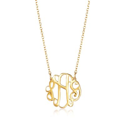 14kt Yellow Gold Petite Script Monogram Necklace, , default