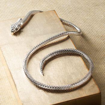 Italian Sterling Silver Diamond-Cut Snake Collar Necklace, , default