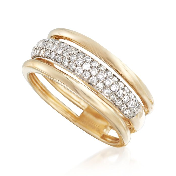 .50 ct. t.w. Pave Diamond Triple-Row Ring in 14kt Yellow Gold