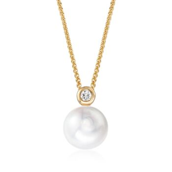"9-10mm Cultured Pearl Pendant Necklace With Diamond Accent in 18kt Yellow Gold. 16"", , default"