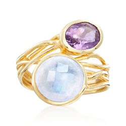 Moonstone and 4.00 Carat Amethyst Ring in 18kt Yellow Gold Over Sterling Silver. Size 8, , default