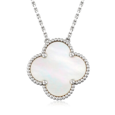 "C. 2000 Vintage Van Cleef & Arpels Mother-Of-Pearl Clover ""Alahambra"" Pendant Necklace in 18kt White Gold"
