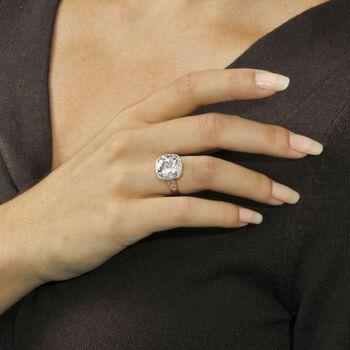 5.00 Carat White Topaz and Diamond Ring in 14kt White Gold, , default