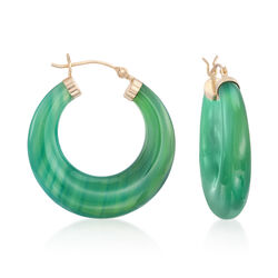 "Green Agate Hoop Earrings in 14kt Yellow Gold. 1 1/8"", , default"