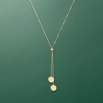 14kt Yellow Gold Lariat Disc Necklace, , default