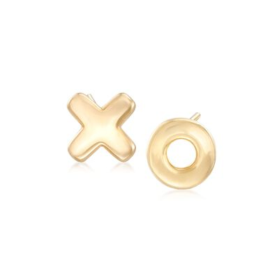 14kt Yellow Gold XO Mismatched Earrings, , default