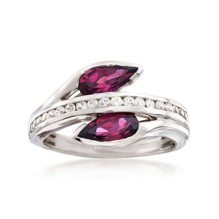1.80 ct. t.w. Rhodolite and .30 ct. t.w. White Sapphire Ring in Sterling Silver, , default
