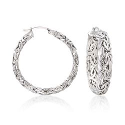 "Sterling Silver Medium Byzantine Hoop Earrings. 1 3/8"", , default"