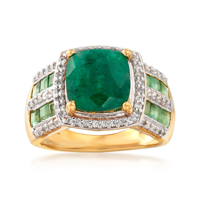 3.70 ct. t.w. Emerald and .40 ct. t.w. White Topaz Ring in 18kt Gold Over Sterling