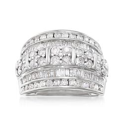 2.00 ct. t.w. Baguette and Round Diamond Multi-Row Ring in Sterling Silver, , default