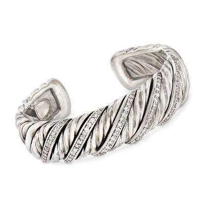 C. 2000 Vintage David Yurman  1.50 ct. t.w. Brilliant-Cut Diamond Cuff Bracelet in Sterling Silver, , default
