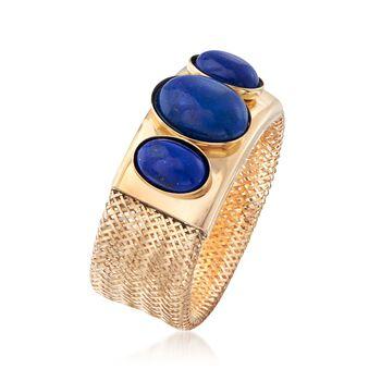 Italian Lapis Three-Stone Mesh Ring in 14kt Yellow Gold. Medium (7-8), , default