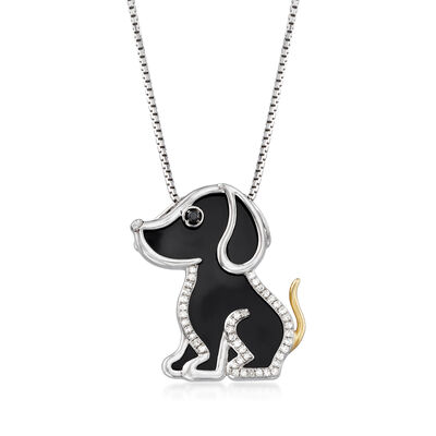 Black Agate and .13 ct. t.w. Diamond Dog Pendant Necklace with 14kt Yellow Gold in Sterling Silver, , default