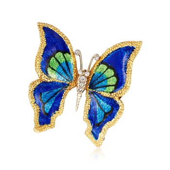 C. 1960 Vintage Multicolored Enamel Butterfly Pin With .15 ct. t.w. Diamonds in 18kt Yellow Gold , , default