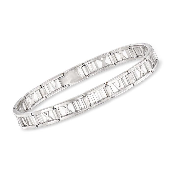 "C. 2003 Vintage Tiffany Jewelry ""Atlas"" Bracelet in 18kt White Gold. 7.5"", , default"