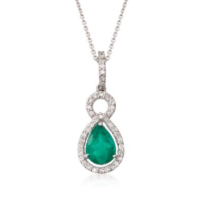 1.85 Carat Emerald and .40 ct. t.w. Diamond Necklace in 14kt White Gold, , default