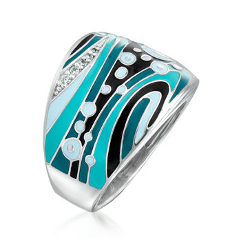 "Belle Etoile ""Calypso"" Multicolored Enamel Ring with CZ Accents in Sterling Silver. Size 7, , default"