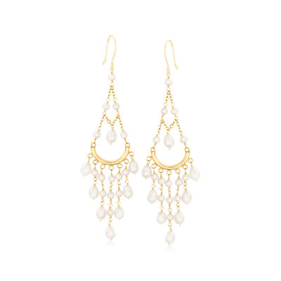 Cultured Pearl Chandelier Earrings in 14kt Yellow Gold, , default