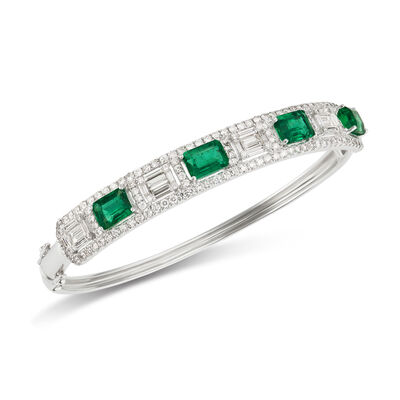 4.50 ct. t.w. Emerald and 2.96 ct. t.w. Diamond Bangle Bracelet in 18kt White Gold