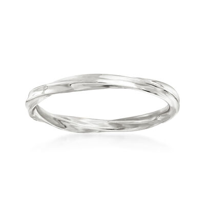 18kt White Gold Twisted Ring, , default