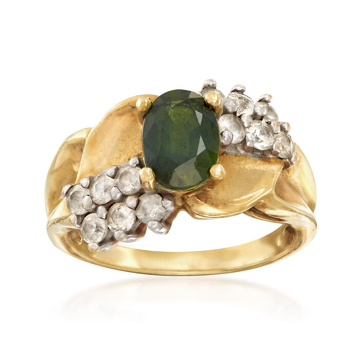 C. 1980 Vintage 1.85 ct. t.w. Green and White Sapphire Ring in 14kt Yellow Gold. Size 5, , default
