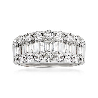 C. 1990 Vintage 2.00 ct. t.w. Round and Baguette Diamond Fashion Ring in Platinum