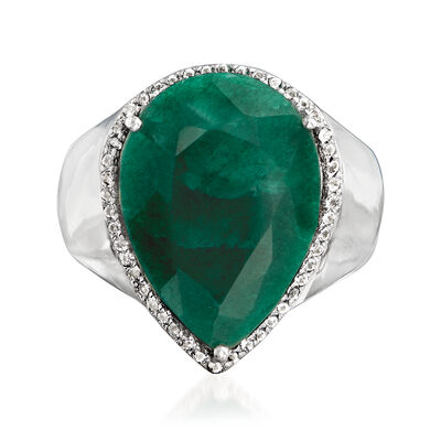 9.50 Carat Emerald and .20 ct. t.w. White Topaz Pear-Shaped Ring in Sterling Silver, , default