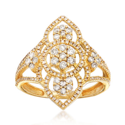 .70 ct. t.w. Diamond Openwork Ring in 14kt Yellow Gold, , default
