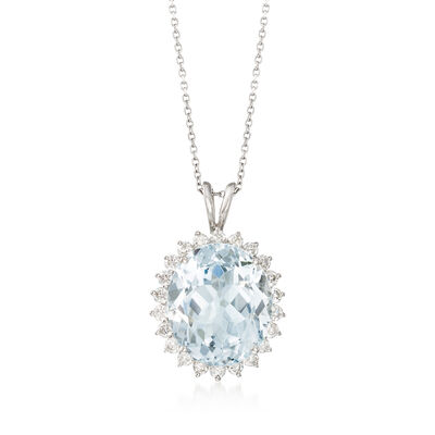 6.75 Carat Aquamarine and .60 ct. t.w. Diamond Pendant Necklace in 14kt White Gold , , default