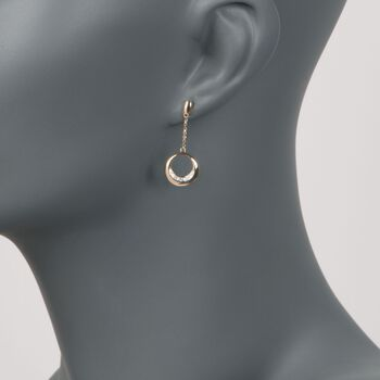 14kt Yellow Gold Circle Drop Earrings With Diamond Accents , , default