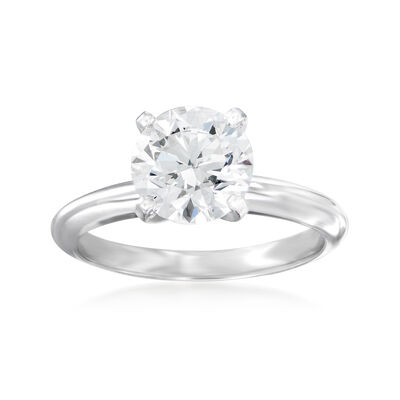 2.00 Carat Certified Diamond Solitaire Ring in 14kt White Gold, , default