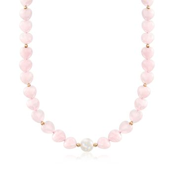 10-10.5mm Cultured Pearl and Rose Quartz Heart Bead Necklace with 14kt Gold