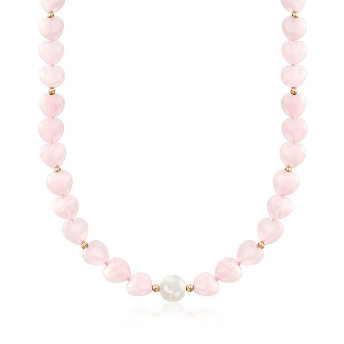 10-10.5mm Cultured Pearl and Rose Quartz Heart Bead Necklace with 14kt Gold, , default