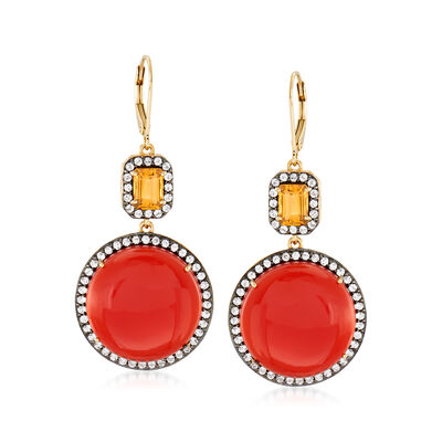 Carnelian and 3.80 ct. t.w. Multi-Gem Drop Earrings in 18kt Gold Over Sterling