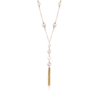 6-8.5mm White and Pink Cultured Pearl Lariat Necklace in 14kt Yellow Gold