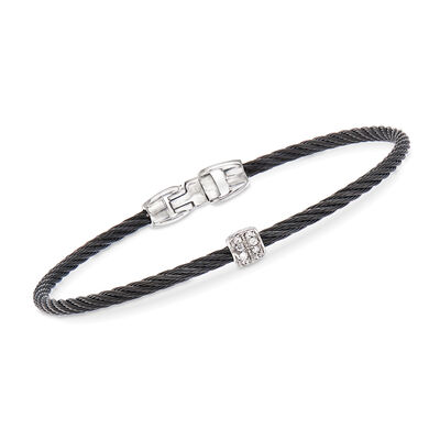 "ALOR ""Noir"" Black Cable Station Bracelet with Diamond Accents and 18kt White Gold, , default"