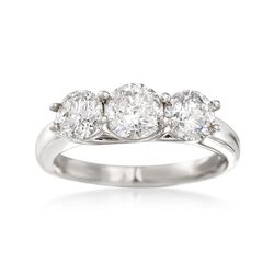 2.00 ct. t.w. Diamond Three-Stone Ring in 14kt White Gold, , default