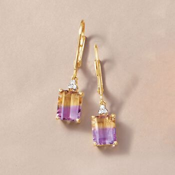 4.00 ct. t.w. Ametrine Drop Earrings with Diamond Accents in 14kt Yellow Gold