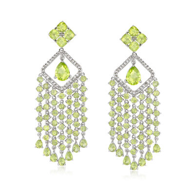 11.10 ct. t.w. Peridot and .50 ct. t.w. White Zircon Chandelier Drop Earrings in Sterling Silver, , default
