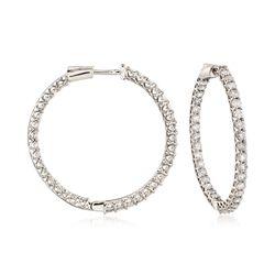 3.50 ct. t.w. Diamond Inside-Outside Hoop Earrings in 14kt White Gold, , default