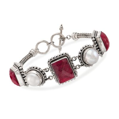 12mm Mabe Pearl and 33.50 ct. t.w. Ruby Bracelet in Sterling Silver, , default