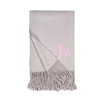 Dove Grey Fringe Throw Blanket, , default