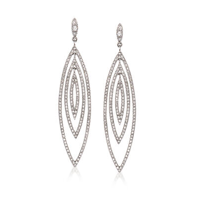 C. 1990 Vintage 2.09 ct. t.w. Diamond Open-Space Geometric Drop Earrings in 14kt White Gold