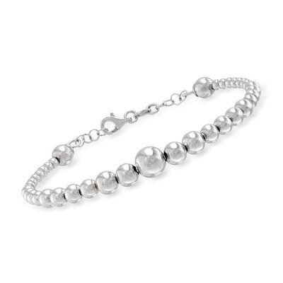 Italian Sterling Silver Graduated Bead Cuff Bracelet