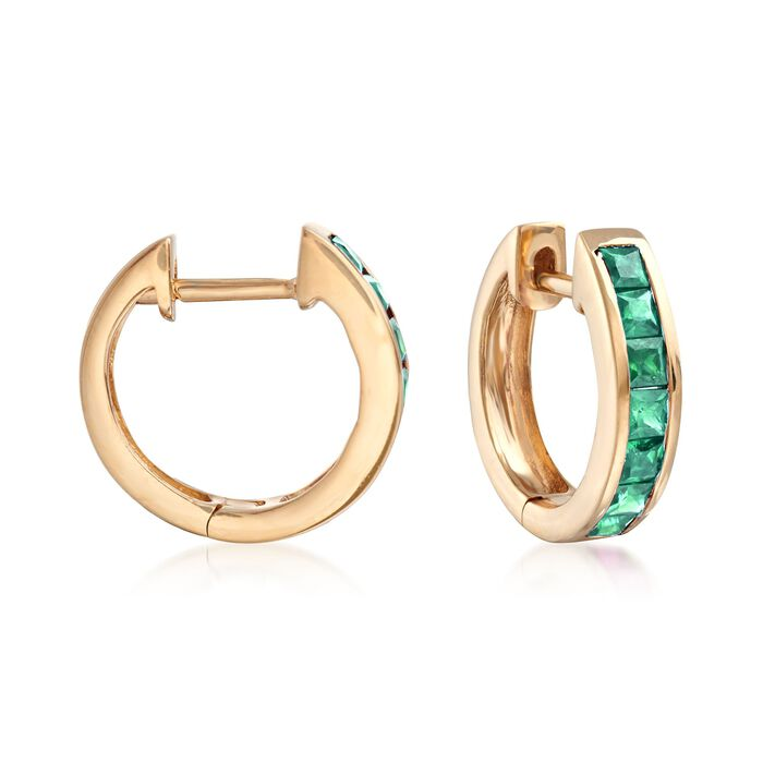 .60 ct. t.w. Square-Cut Emerald Huggie Hoop Earrings in 14kt Yellow Gold. 3/8""