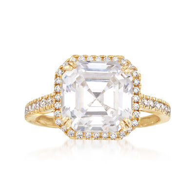5.38 ct. t.w. Round and Asscher-Cut CZ Ring in 14kt Yellow Gold, , default