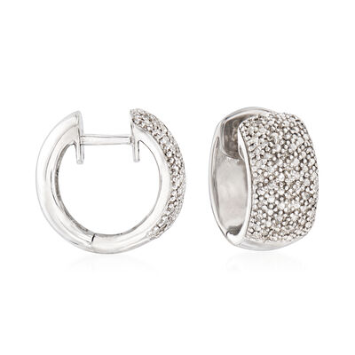 Diamond Accent Huggie Hoop Earrings in Sterling Silver, , default