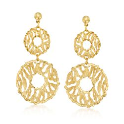 Italian 18kt Yellow Gold Over Sterling Silver Double Circle Drop Earrings, , default